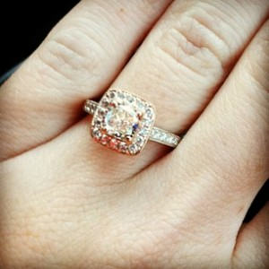 My gorgeous ring: Cushion Cut/Rose Gold Halo/White Gold Band
